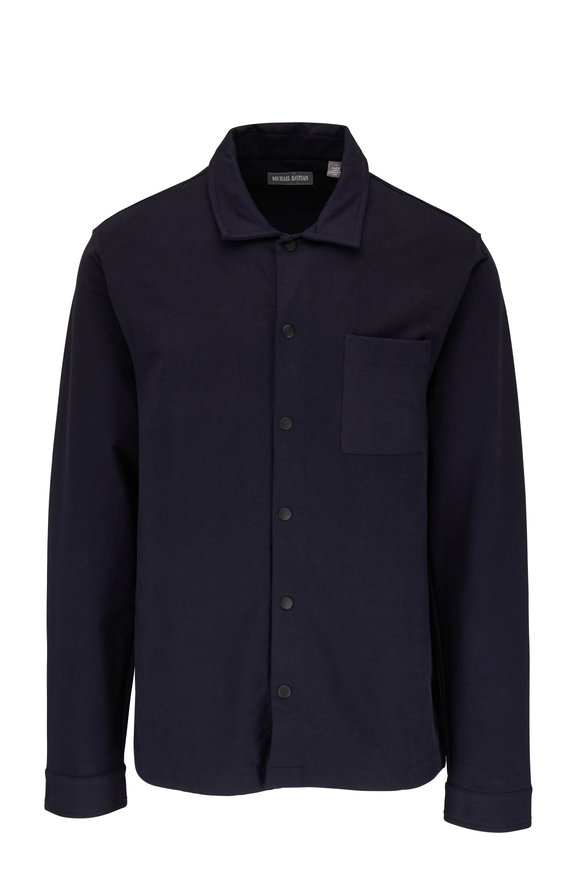 Michael Bastian Navy Blue Stretch Cotton Over-Shirt