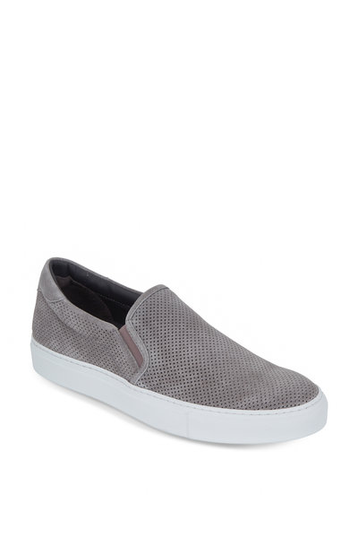 To Boot New York - Racer Gray Perforated Suede Slip-On Sneaker