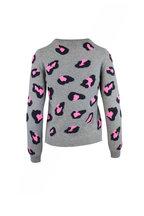 Jumper 1234 - Gray & Pink Leopard Print Cashmere Sweater