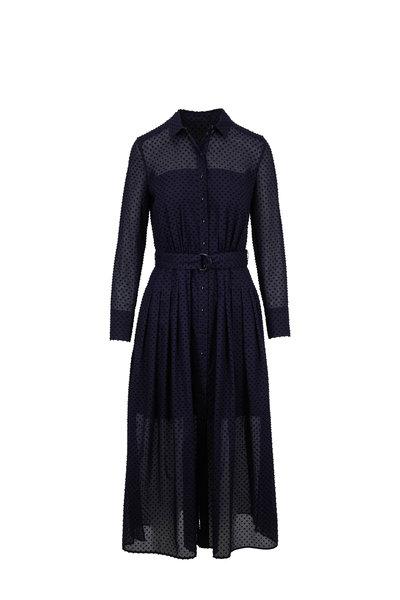 Akris Punto - Navy Blue Dot Belted Shirtdress