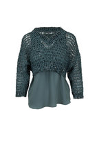 Brunello Cucinelli - Exclusive Turquoise Open Knit Paillette Sweater