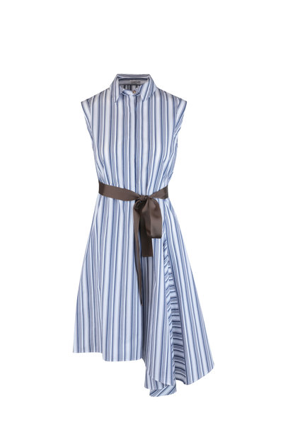 Brunello Cucinelli - Blue & White Striped Sleeveless Shirt Dress