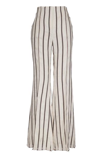 Dorothee Schumacher - Cream Linen Striped Wide Leg Pant