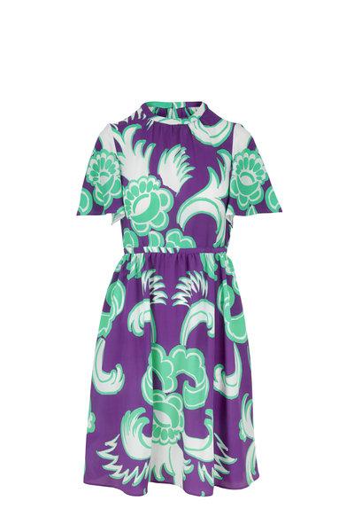 Valentino - Lapis Printed Stretch Silk Flutter Sleeve Dress