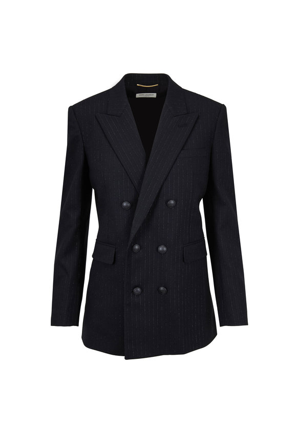 Saint Laurent Black Lamé Pinstripe Double-Breasted Blazer