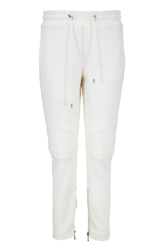 Balmain Natural Quilted Zip Cuff Jogger