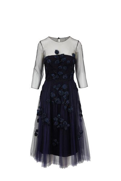 Carolina Herrera - Navy Sheer Sleeve Embroidered Tulle Dress