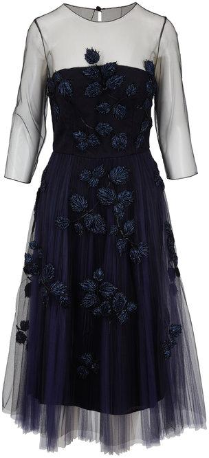 Carolina Herrera Navy Sheer Sleeve Embroidered Tulle Dress