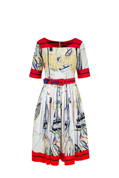 Samantha Sung - Aster Red Stretch Cotton Printed Belted Dress