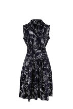 Samantha Sung - Claire Navy & White Palm Print Belted Dress