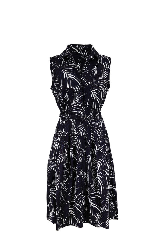 Samantha Sung Claire Navy & White Palm Print Belted Dress