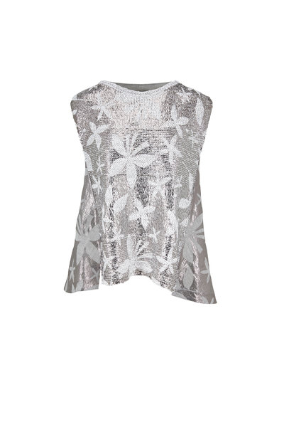 D.Exterior - White & Silver Printed Knit Sleeveless Top