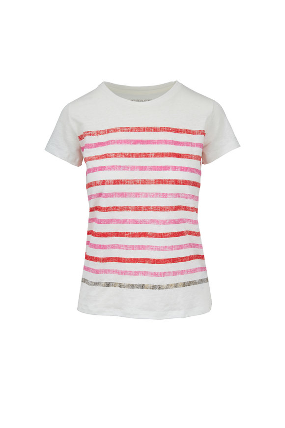 Majestic White & Red Striped Stretch Linen Deluxe T-Shirt
