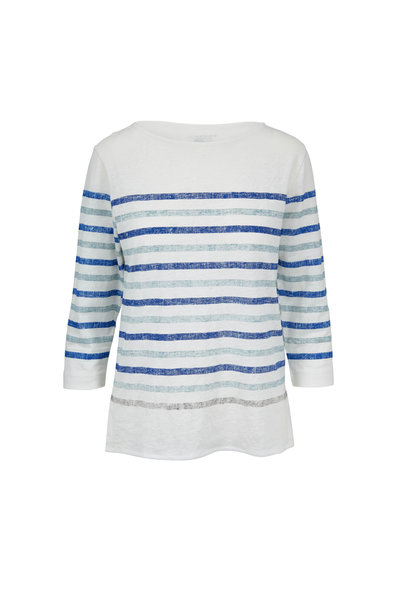 Majestic - White & Blue Striped Stretch Linen Deluxe T-Shirt