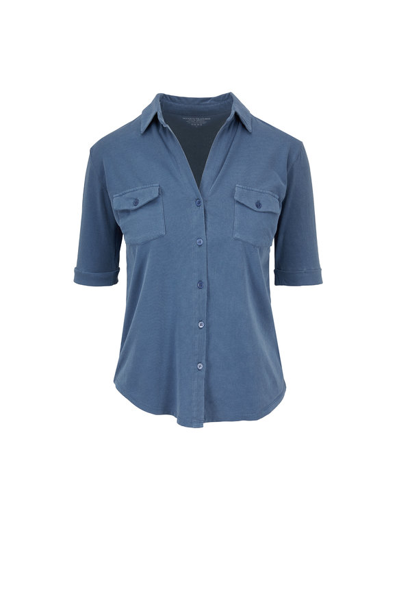 Majestic Slate Blue Cotton Elbow Sleeve Button Down
