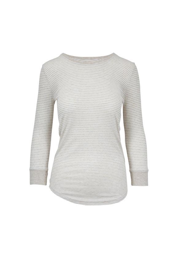 Majestic White & Beige Striped Superwashed T-Shirt