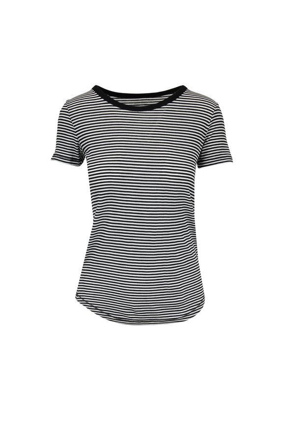 Majestic Black & White Striped Superwashed T-Shirt
