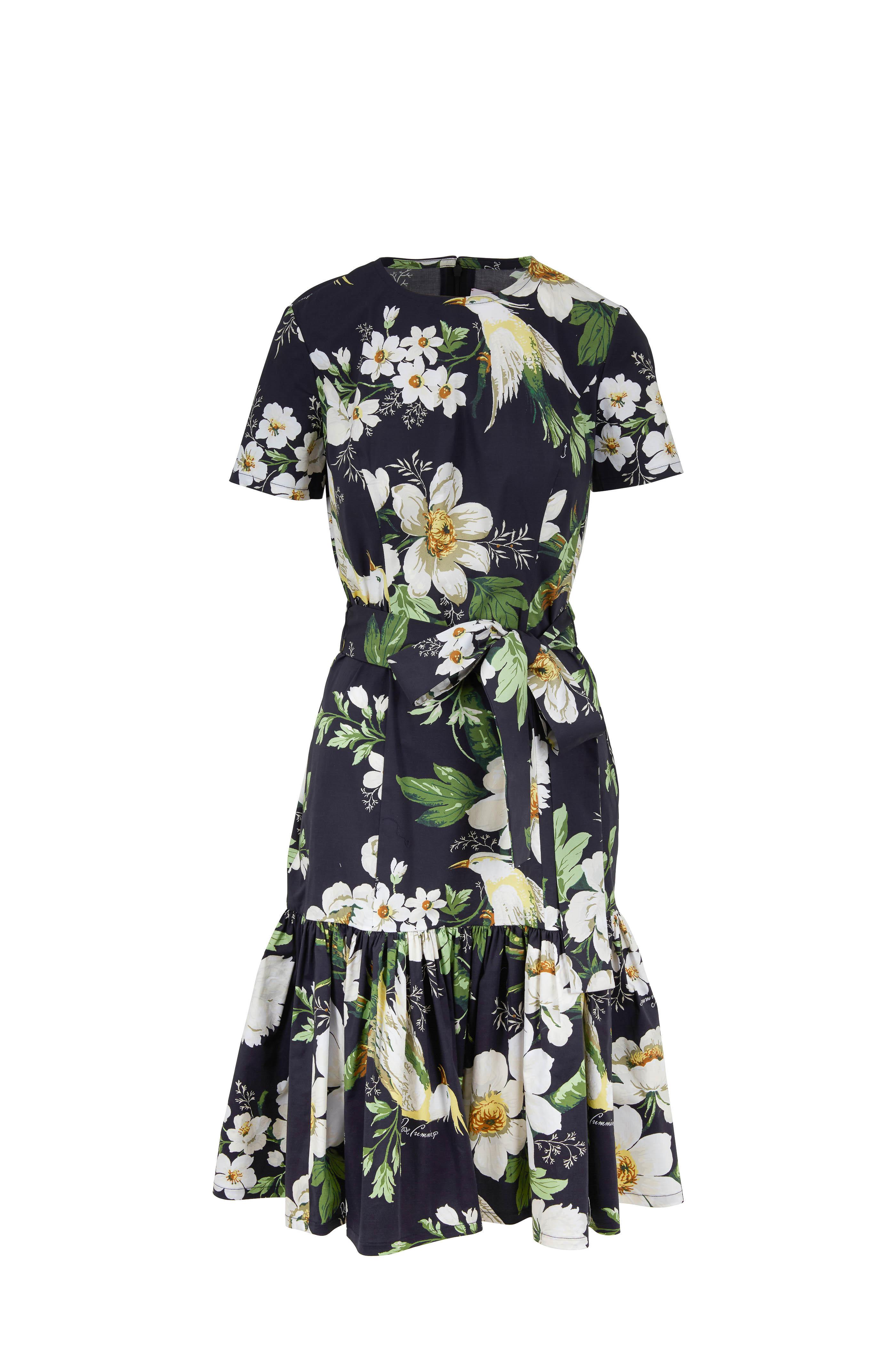 90970b269bc1c Carolina Herrera - Black Multi Floral Printed Stretch Cotton Dress ...