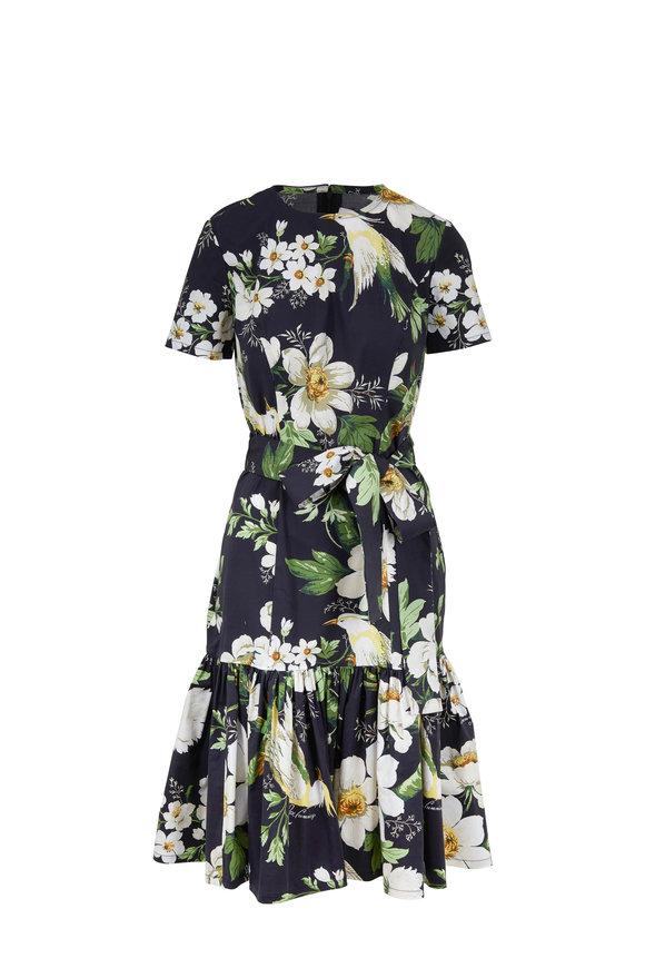 Carolina Herrera Black Multi Floral Printed Stretch Cotton Dress
