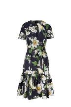 Carolina Herrera - Black Multi Floral Printed Stretch Cotton Dress