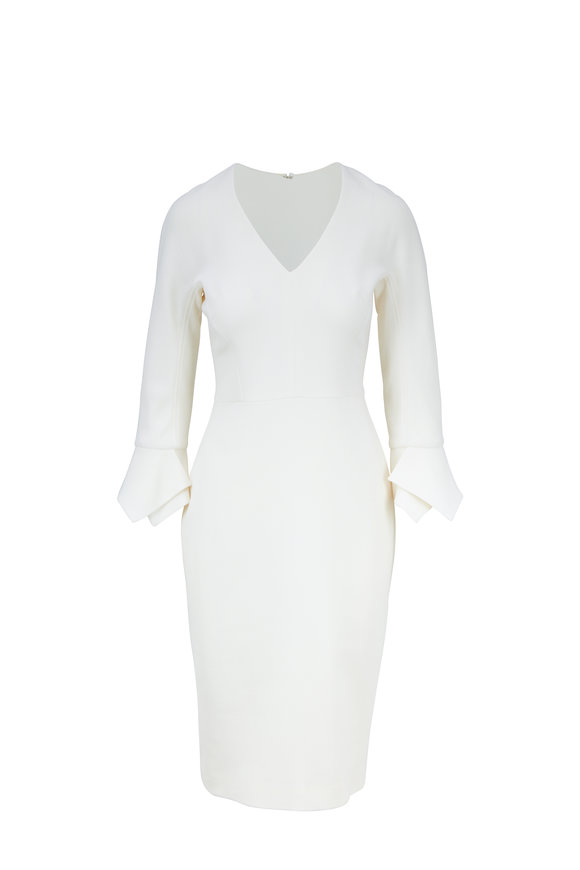 Lela Rose Ivory Stretch Wool Handkerchief Cuff Dress