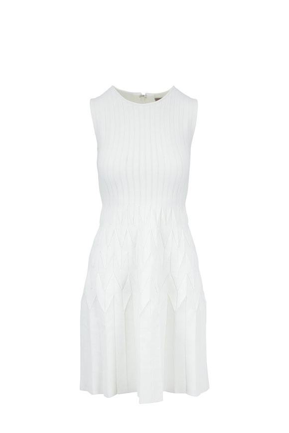 Lela Rose Ivory Pleated Skirt Knit Dress