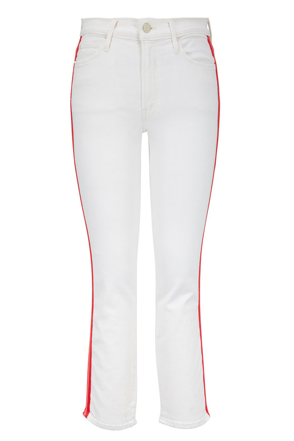 Mother Denim The Mid-Rise Dazzler Off White Stripe Jean