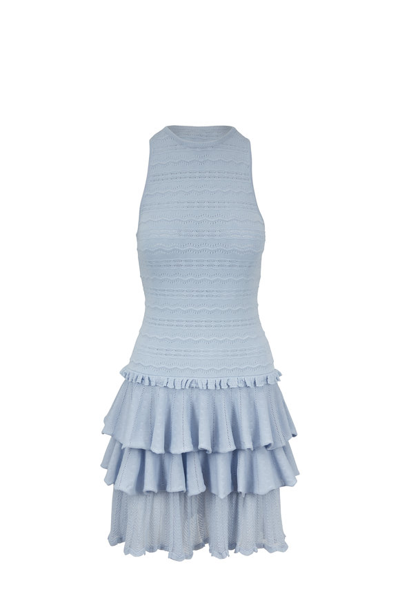 Jonathan Simkhai Light Blue Tiered Ruffle Knit Dress