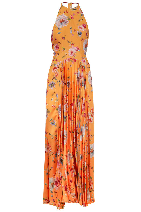 Galvan Majorelle Yellow Floral Printed Gown