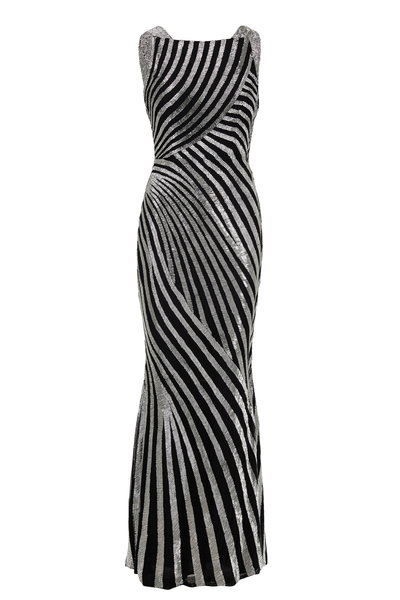 Rachel Gilbert - Milla Black & Silver Beaded Gown