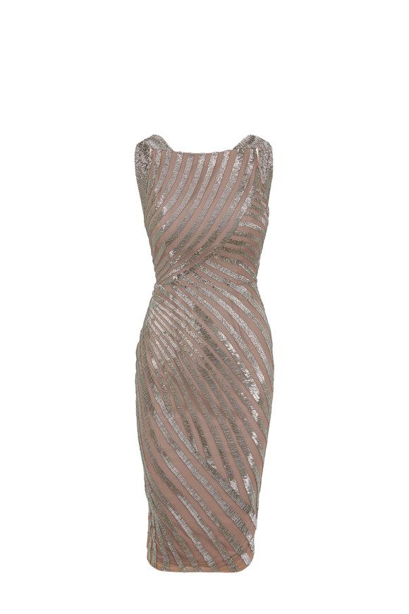 Rachel Gilbert Milla Clay Hand Embellished Midi Dress
