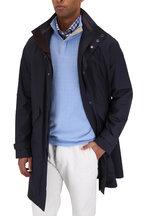 Ermenegildo Zegna - Navy Blue Wool & Silk Traveler Hooded Coat