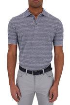 Ermenegildo Zegna - Navy Blue Cotton Blend Striped Polo