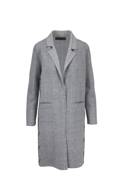 D.Exterior - Gray Embroidered Houndstooth Coat