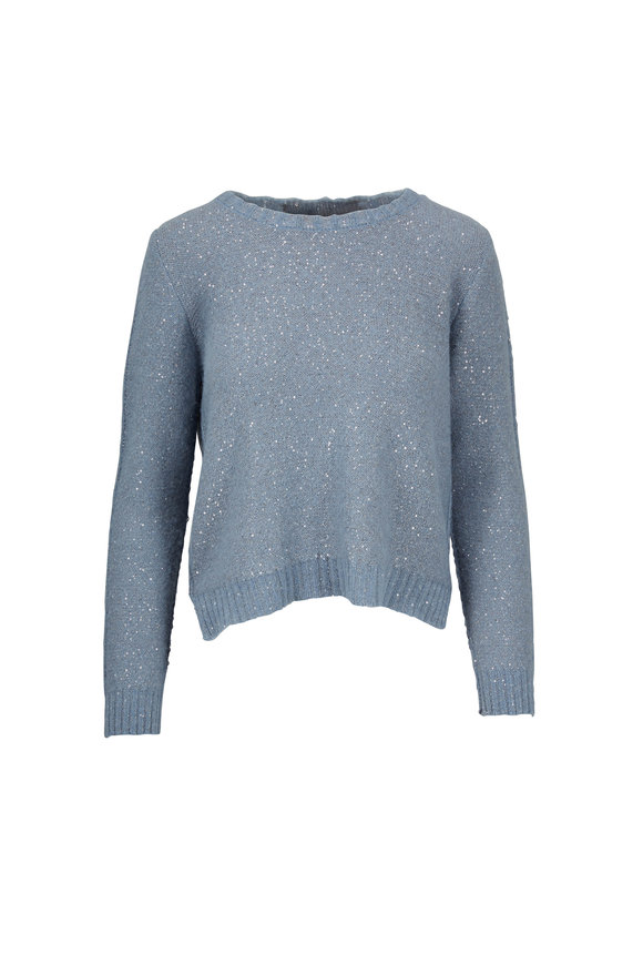 D.Exterior Blue Bi-Color Hi-Low Paillette Sweater