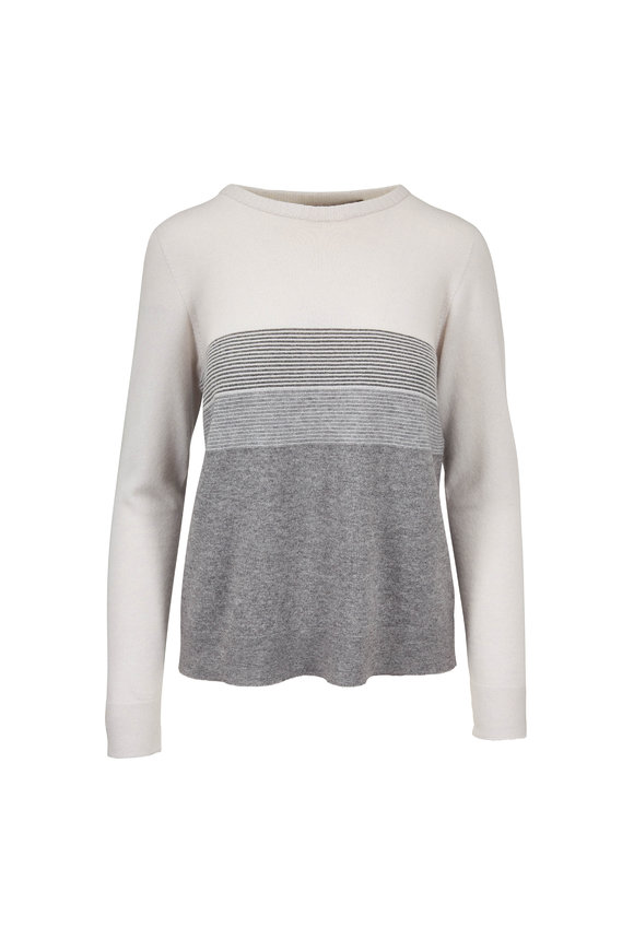 D.Exterior Cream Bi-Color Metallic Trim Sweater