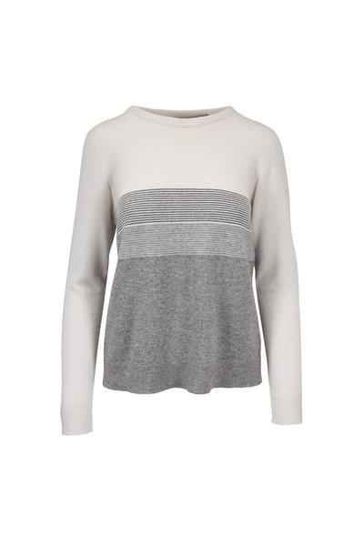 D.Exterior - Cream Bi-Color Metallic Trim Sweater
