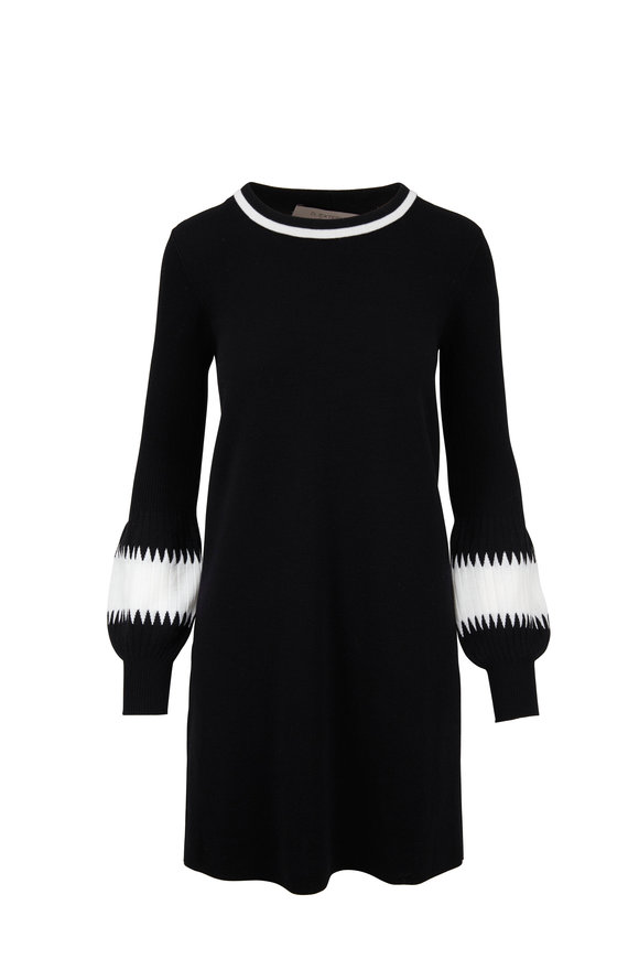 D.Exterior Black Wool Intarsia Sleeve Sweater Dress
