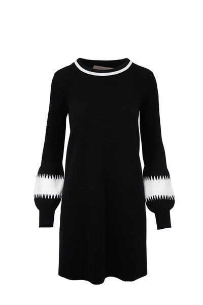 D.Exterior - Black Wool Intarsia Sleeve Sweater Dress