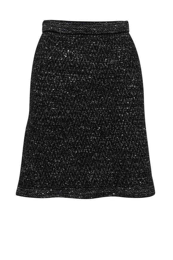 D.Exterior Black Wool & Angora Blend Sweater Skirt