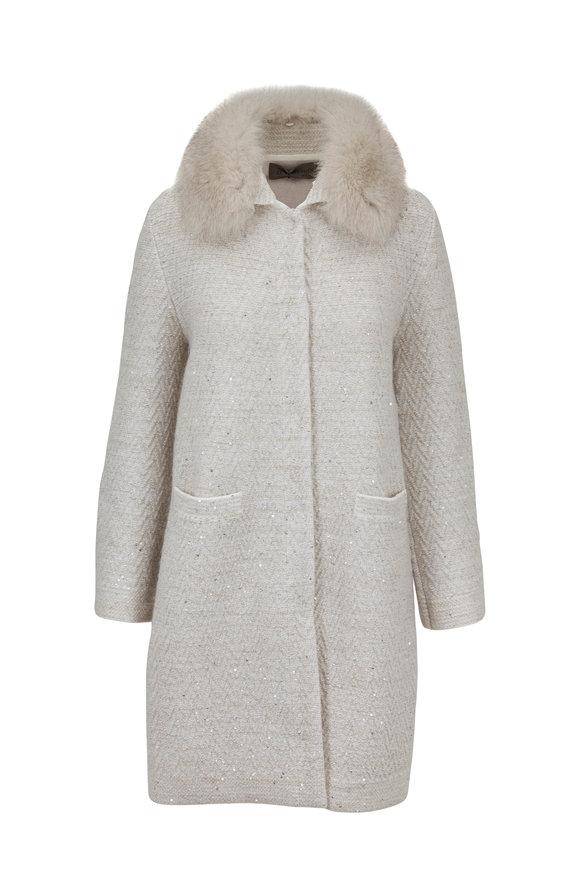 D.Exterior Ivory Mohair Chevron Fox Collar Sweater Coat