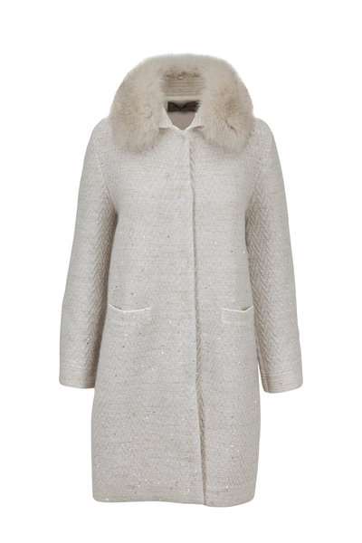 D.Exterior - Ivory Mohair Chevron Fox Collar Sweater Coat