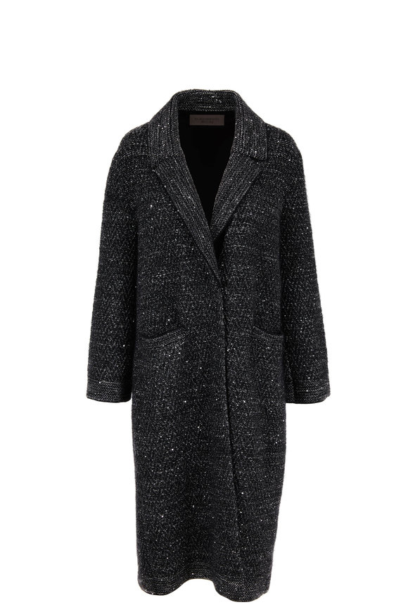 D.Exterior Black Wool & Angora Blend Sweater Coat