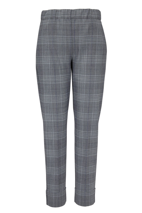 D.Exterior Blue Glen Plaid Pull-On Cuffed Pant