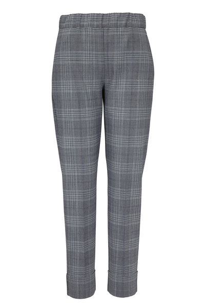 D.Exterior - Blue Glen Plaid Pull-On Cuffed Pant