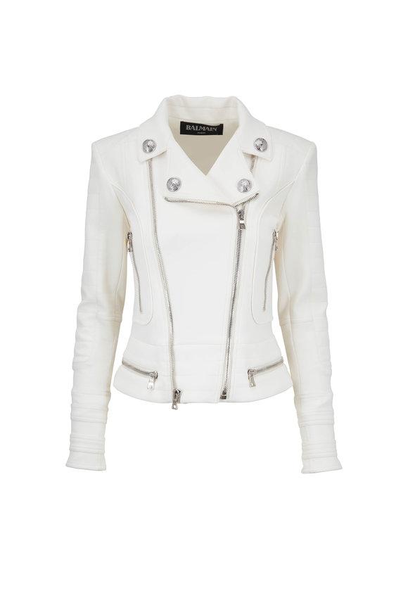 Balmain Natural Quilted Moto Jacket