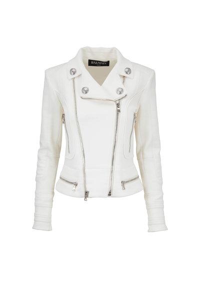 Balmain - Natural Quilted Moto Jacket