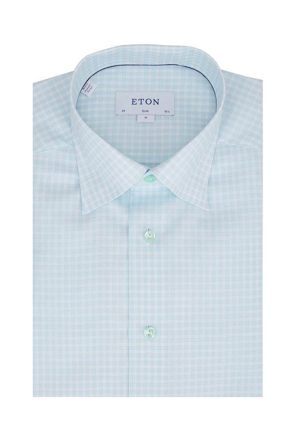 Eton Mint Check Slim Fit Dress Shirt