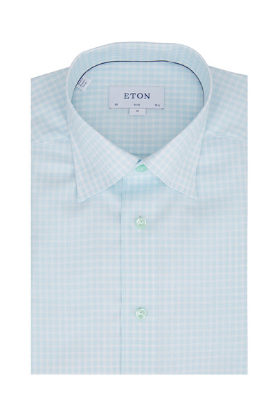 Eton - Mint Check Slim Fit Dress Shirt