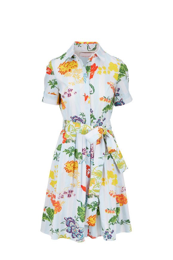 Carolina Herrera Blue Floral & Stripe Stretch Cotton Shirtdress